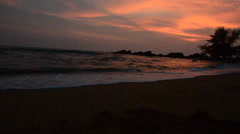 Sunset time at Kung Wiman Beach and Sea Stock Footage