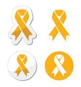 Gold ribbon - childhood cancer symbol - stock illustration