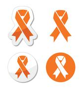 Orange ribbon - leukemia, hunger, humane treatment of animals sign - stock illustration