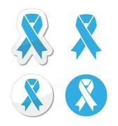 Blue ribbon - prosate cancer, childhood cancer aweresness symbol - stock illustration