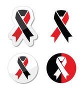 Red and black ribbons set - atheism symbol Stock Illustration