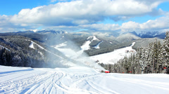 Mountains And Snow Gun Stock Footage