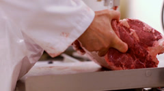 Butcher Shop Meat Preparation Stock Footage