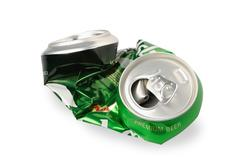 crumpled aluminum can - stock photo