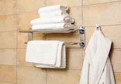 towels and bathrobes - stock photo