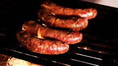 Stock Video Footage of Summer BBQ Grill Italian Sausage