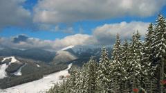 Beautiful Mountains Beneath Ski Lifts Timelapse Stock Footage