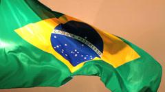 Real Brazilian Flag waving 4 Stock Footage