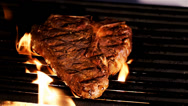 Stock Video Footage of Summer BBQ Grill T-Bone Steak