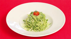 Spaghetti al Pesto On Red Tablecloth Stock Footage
