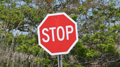 Stop Signs, Halt, Warnings, Traffic Safety Stock Footage