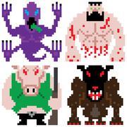 Worse terror horror monster retro computer eight bit pixel art Piirros