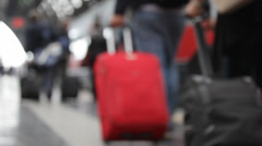 People with suitcases go on a platform what to get on the train Stock Footage
