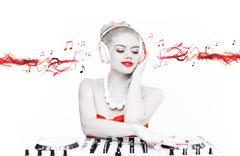 Kaunis tiskijukka sekoitus musiikkia Kuvituskuvat