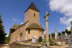 medieval church and churchyard - stock photo