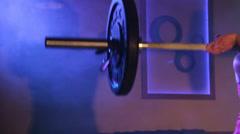 Woman Lifting Barbell Shadow - stock footage