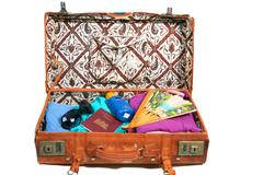 Stock Photo of leather suitcase packed for vacation