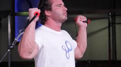 Body Building Shoulder Workout Stock Footage
