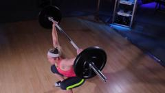 Body Builder Weight Lifting Barbell Stock Footage