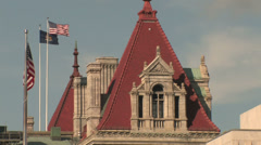 Albany Capital Building Spire and Flags Stock Footage