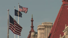 Albany Capital Building Flags Close Up Stock Footage