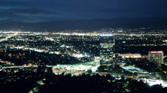 Timelapse Los Angeles Night, Valley with Mountains, Traffic Stock Footage