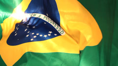 Real Brazilian Flag waving 6 - Beautiful scene Stock Footage