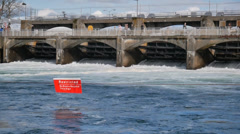 Spillway Dam CU Stock Footage