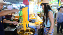 Cooking Kind of Thai snack  Foi Thong Stock Footage