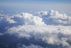 Clouds, view from airplane - stock photo
