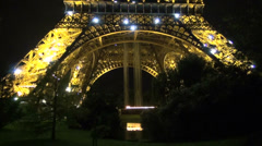 Eiffel tower in Paris by night, France Stock Footage