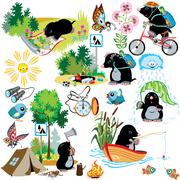 set with cartoon mole in camping - stock illustration