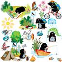 Set with cartoon mole in camping Stock Illustration