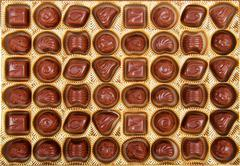 Variation of chocolate candy in the box Stock Photos