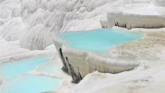 Pamukkale spring pool and travertines terraces three in one - stock footage