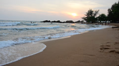 Sunrise time at Kung Wiman Beach and Sea Stock Footage