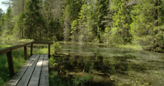 Wooden bench found beside the spring water Stock Footage