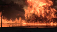 Fuel Fire Suppression airport fire fighters - stock footage