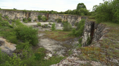 Pan on abandoned Stone Quarry 001 Stock Footage