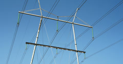 huge electric post with wires - stock footage