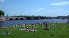 The beach at the Troitsky bridge in St. Petersburg. 4K. Stock Footage