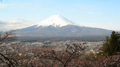 View of Mount Fuji from Chureito Pagoda of Arakura Sengen shrine Stock Footage