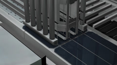 Artist rendering,Solar panel production assembly line. Stock Footage
