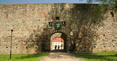 The gate of an old castle Stock Footage