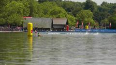 The PruHealth World Triathlon London 2014 - swimmers getting ready Stock Footage