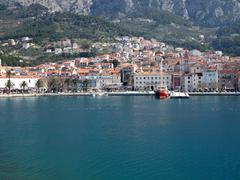 Stock Photo of Makarska city from the sea