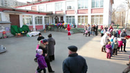 Stock Video Footage of Timelapse of parents with preschool kids meeting in nursery inner yard, Russia