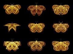 Stock Illustration of Selection of Fractal Butterflies
