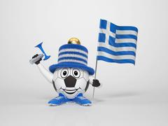 soccer character fan supporting greece - stock illustration
