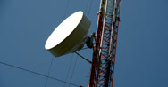 Stock Video Footage of the circular dish from a gsm tower